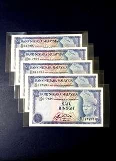 🇲🇾 Malaysia 4th Series RM1 Banknote~5pcs Consecutive Number