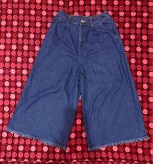 Wide Leg Denim Capri Pants