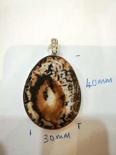 Pendant agate with silver