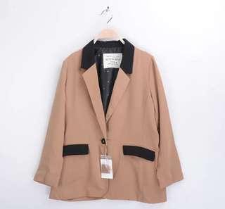 🇯🇵olive des olive🉐️5折限購1件✨撞色長版雪紡質感可愛內裡精緻釦子雙口袋西裝外套