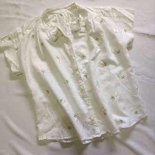 White Embroidered Daisy Top