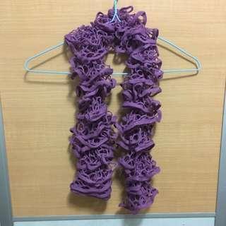 紫色手織頸巾