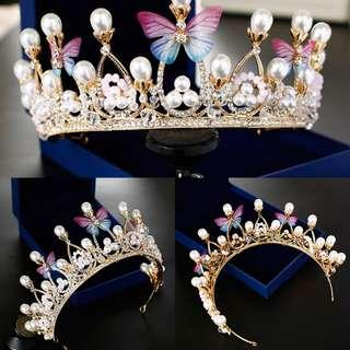 {RENT} Tiara with Butterfly & Pearls (RC-002)
