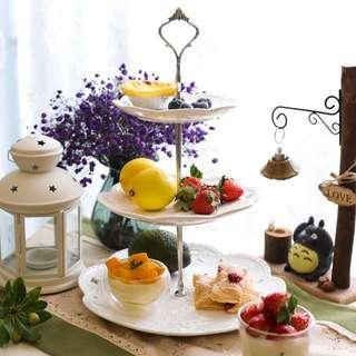 New ceramic three 3 Tier Cake Stand cupcakes party dessert fruit plates christmas new year high tea party display