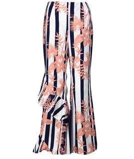 Poplook Teshay Bell Bottom Pants - Blue/Orange Stripe Floral