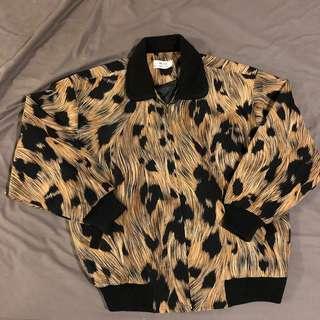 古著 外套 保暖 梵谷 藝術 絨布 可愛 卡其色 黑色