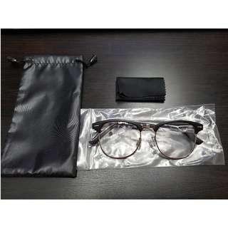 Matte Black New Vintage Clubmaster Eyewear Glasses Clear Lens with Silver Rim