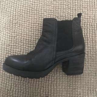 Winter Black Boots Short Medium Genuine Leather