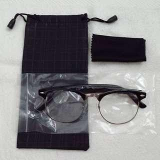 Clubmaster Glossy Black vintage Eyewear Spectacle Frame Glasses Clear lens with Silver Rims