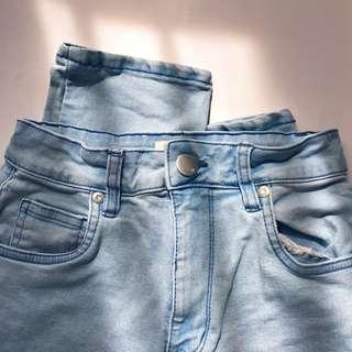 cotton on baby blue high rise 90s stretch jeans