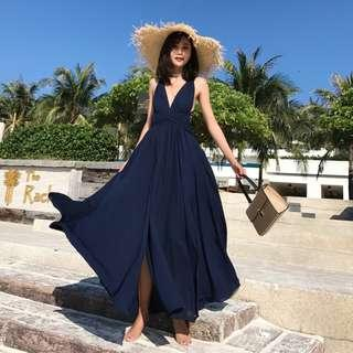 Faith Navy Blue Tie-Back Slit Maxi Dress