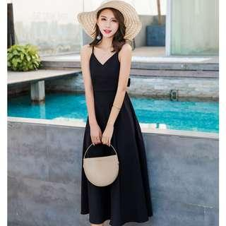 Carrie Black Tie-Back Maxi Dress