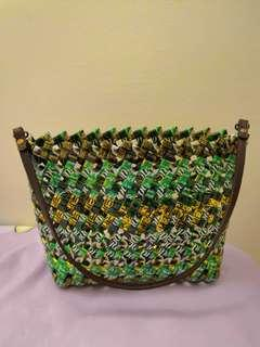 Handmade bag using recycled foil wrappers