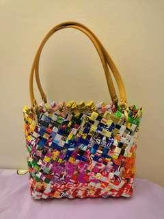 Handmade bags using recycled foil wrappers