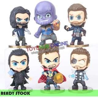 6Pcs New Q Series Avengers Thor Thanos Dr.Strangers Rocky PVC Figures