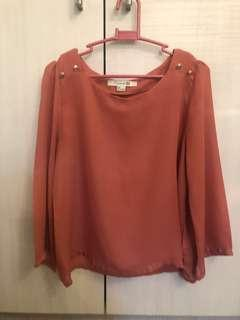 Forever21 Peach Chiffon Loose Long Sleeves Too