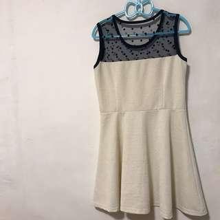 奧黛麗赫本風 優雅氣質米白洋裝