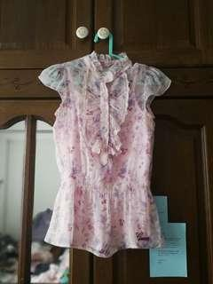 GUESS Floral Lace Ruffled Top