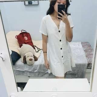 SHORTCUTS Vintage White Button Flowy Dress