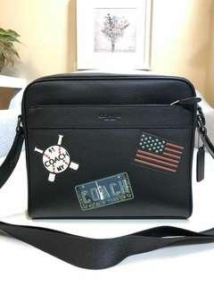CHARLES CAMERA BAG WITH AMERICAN DREAMING PATCHES  (COACH F26079)  ANTIQUE NICKEL/BLACK