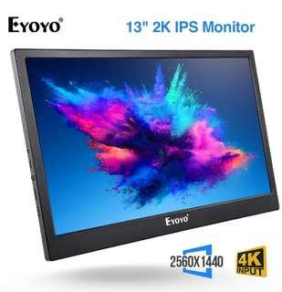 Eyoyo 13 Inch 2K IPS Gaming Monitor Support Dual HD Input For Xbox One PS3 PS4