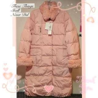 🚚 【智美精品屋】羽絨長外套 可愛風 粉紅羽絨外套 毛領羽絨外套 新款限量上市 超特價