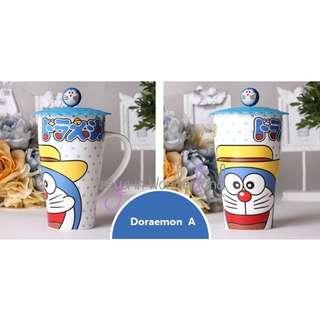 🚚 4 Designs! Doraemon Ceramic Mug Cartoon Eco Cups with Cup Lid Mugs Set Creative Drinking