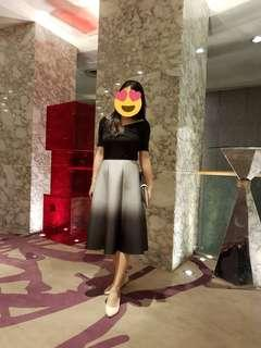 Ombre Flare Midi Skirt (Grey)