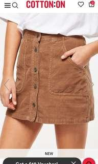 🚚 BNIB Cotton On A Line Cord Mini Skirt