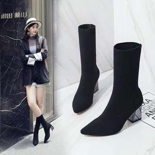 🚚 2018韓國 粗跟襪靴踝靴 中筒針織靴