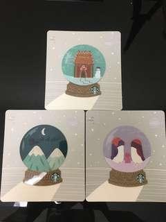 Starbucks US Xmas 2018 Snow Globe cards set