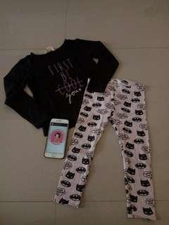 H&M leggings + tshirt size 2-3y