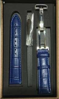22mm Brand new blue leather strap