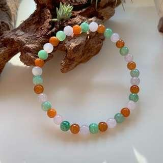 5.2mm A-Grade Type A Natural Triple Colour Jadeite Beaded Bracelet No.190139