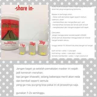 Aztec Indian Healing Clay Mask (Share in Jar)