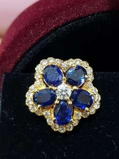🚚 18K Yellow Gold Blue Sapphire and Diamond Earrings