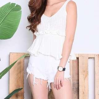 BNWT CREAM GLACIER KNIT BABYDOLL TOP