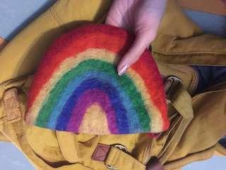 羊毛 人手製 小錢包 彩虹