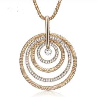4 Circles Pendant with Long Chain
