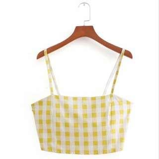 3 for $15 Yellow Plaid crop top