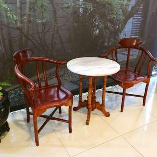 Vintage rosewood Chairs Peranakan marble side table