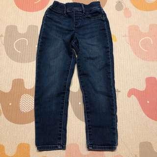 🚚 Uniqlo 童裝牛仔鬆緊褲頭長褲 - 藍/110
