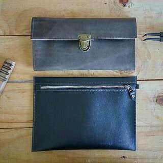 Leather Simple Man Clutch👦100%handmake item