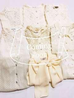 日本購入復古古著Lace邊刺繡花邊珍珠鈕扣恤衫上衣返工衫Vintage white blouse