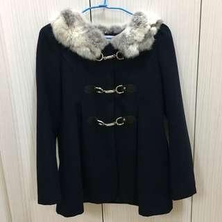 Angel深藍色羊毛大衣