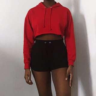 Red Cropped Hoodie Sweater