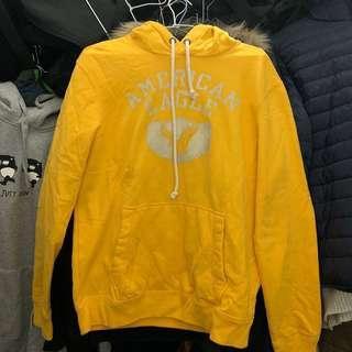 🚚 American eagle Logo hoody 連帽上衣 黃色S #十二月良品半價
