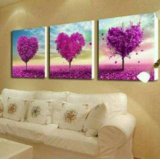 In stock - 3pcs Heart Trees Canvas Painting