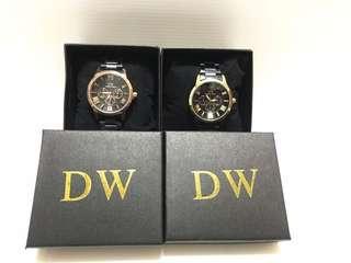 [DW] 日本進口Daniel wang 玫瑰金 三眼功能錶 黑鋼錶 蝴蝶扣