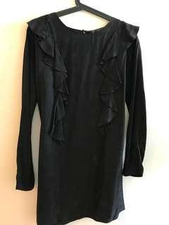 ZARA velvet dress (dark navy green - frill detailing)